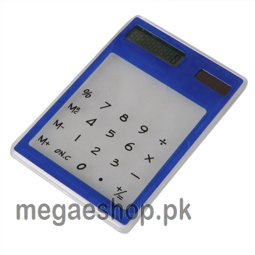 Blue transparent touch screen eight solar calculator