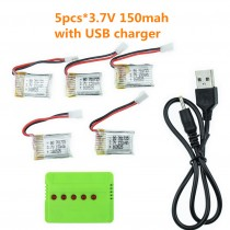 5PC 3.7V 150mAh Battery + 5 in 1 Charger  H8 Mini Lipo For RC Quadcopter Parts