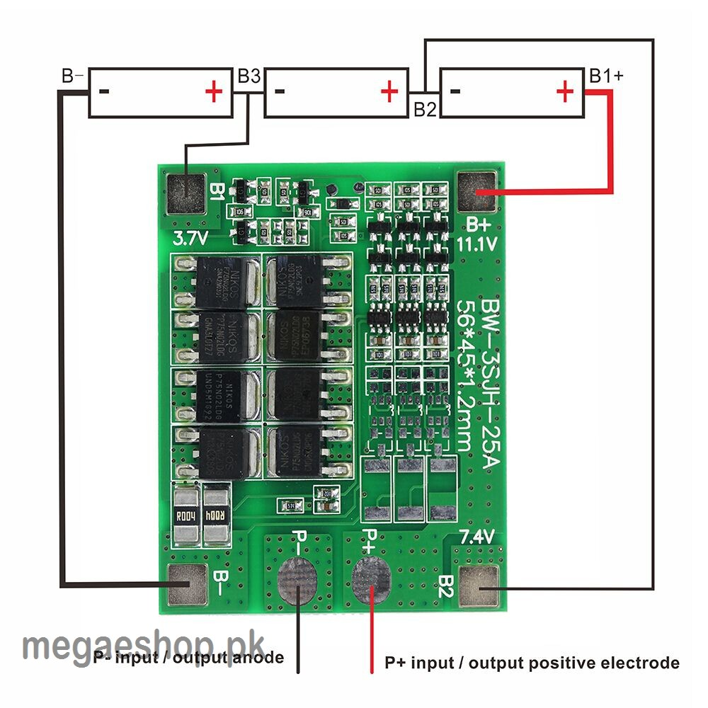 3s 25a Li Ion 18650 Bms Pcm Battery Protection Board