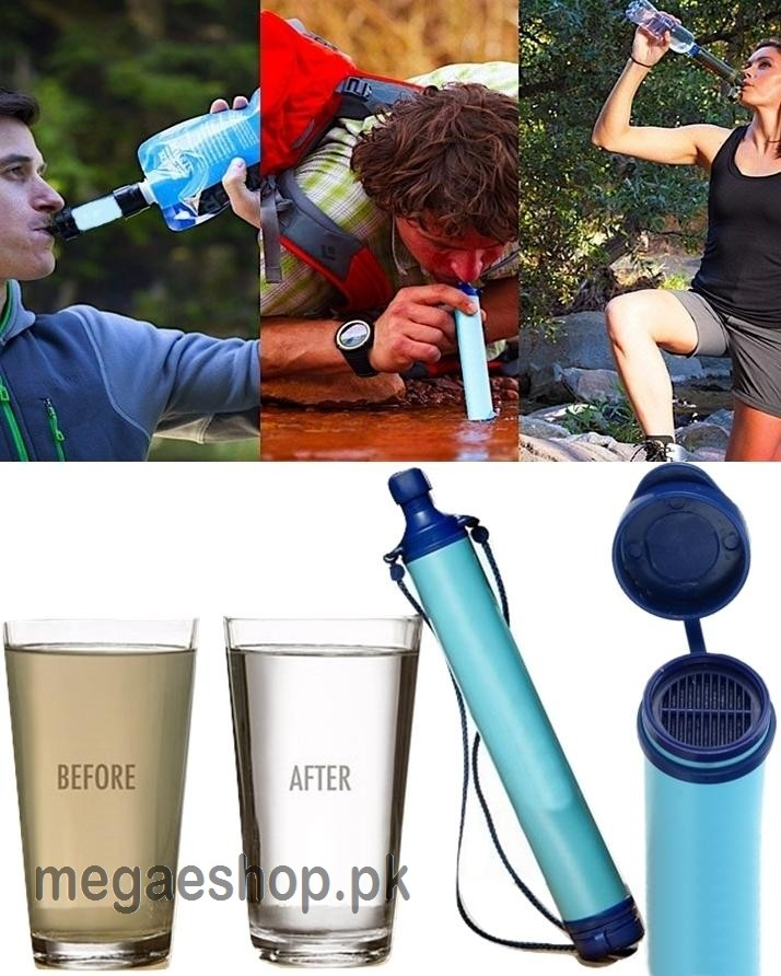 Portable Water Filter Straw Water Bottle Hydration Camping Hiking 1500L Purifier