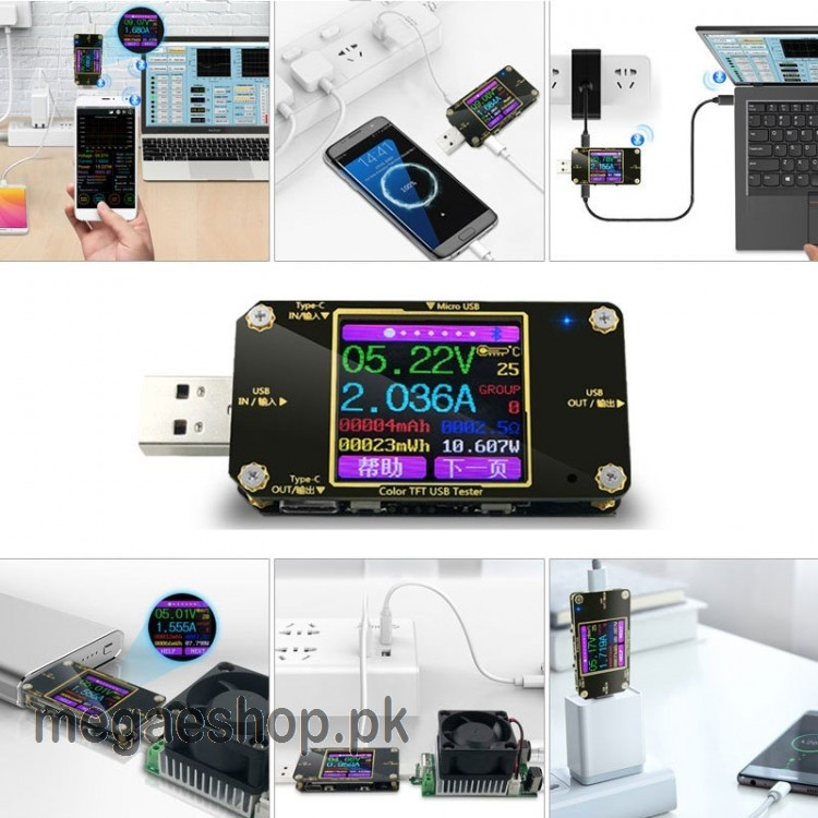 A3-B USB Current Voltage Meter Digital Display Color Tester Multi-function Type-C PD Detector Voltmeter With bluetooth