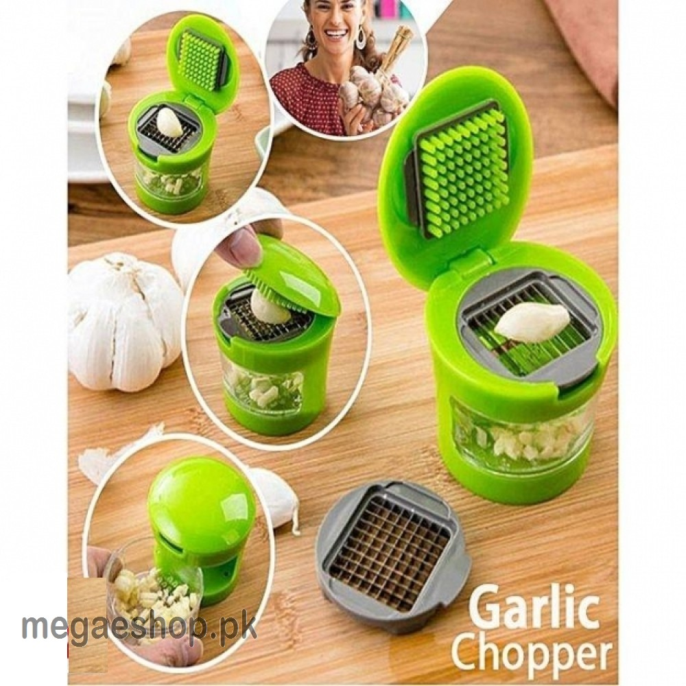 Portable 3 in 1  Multi-function Press Style Manual Garlic Chopper - Green