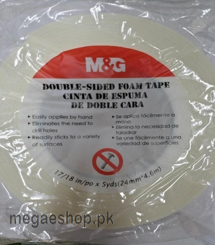 M&G - Double Sided Foam Strong Adhesive Sponge Mounting White Tape (24mm x 5y)