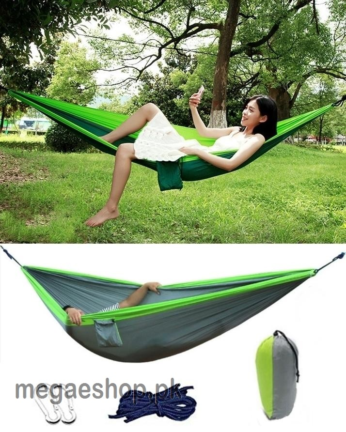 Double Hammock Portable Parachute Nylon Hanging Swing Bed Travel Camping