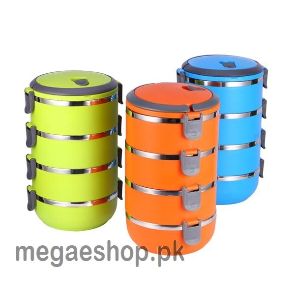4 Layer Stainless Steel Round Lunch box