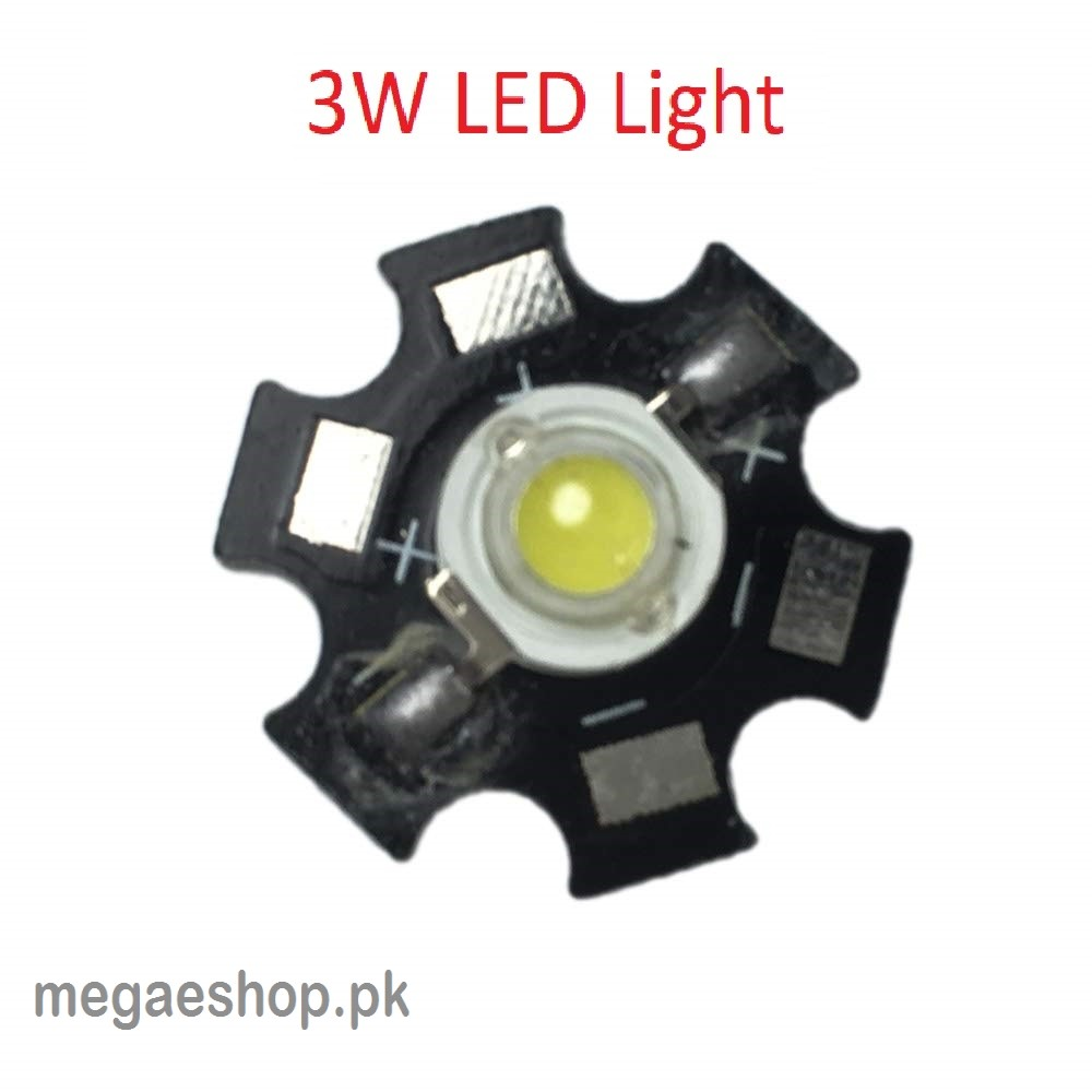 3W High Power LED Light Emitter 6000-6500K Aluminum Star Base Heatsink