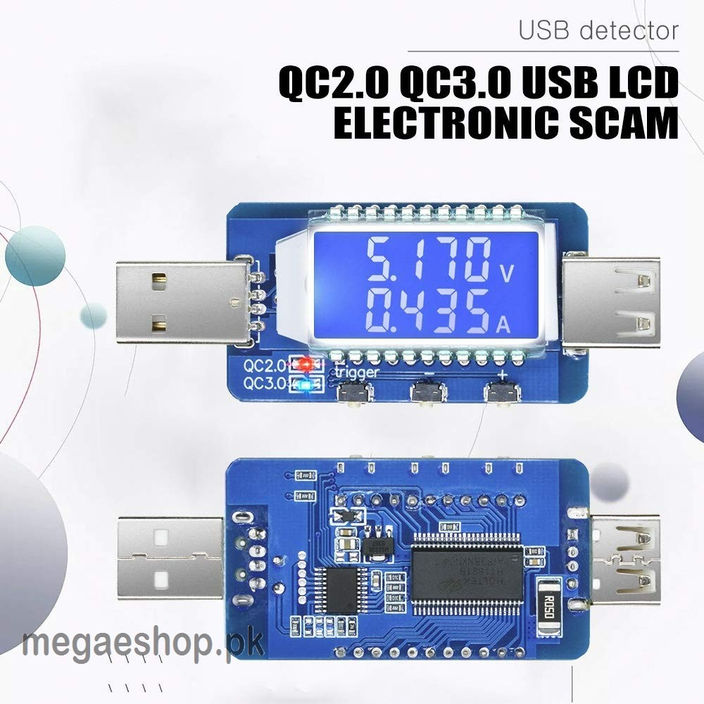 QC2.0 3.0 USB LCD Electronic Scam Current Voltage Detector Tester Trigger Meter