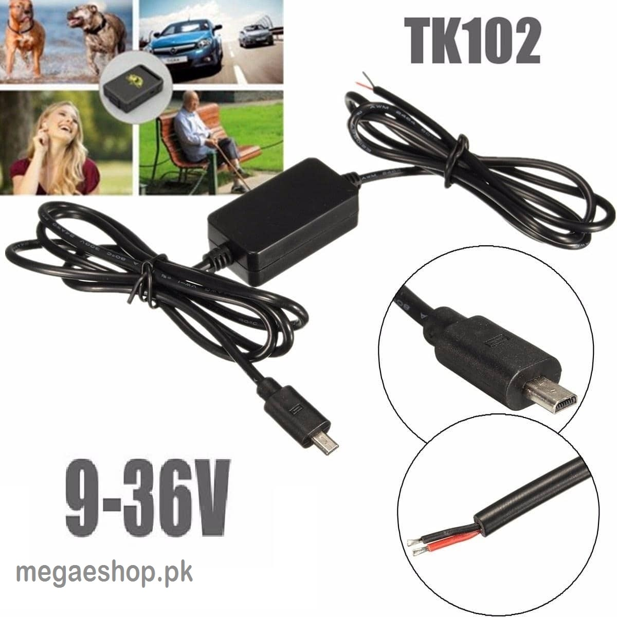 Car Power Supply 12V Charger Cable for TK-102 GPS Tracker Charger Cable Black