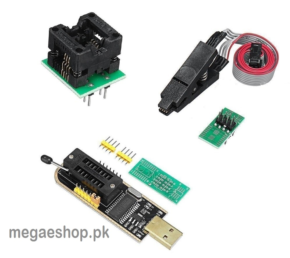 SOIC8 150mil Adapter+SOIC8 Clip EEPROM BIOS Writer CH341A USB Programmer