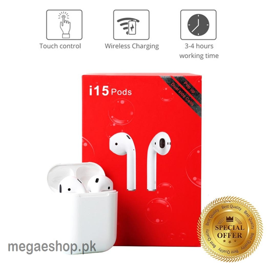 i15 TWS 5.0 Connectivity Bluetooth Wireless Aipods/Earpods/In-Ear Earphones,Latest Version in AIRPODS