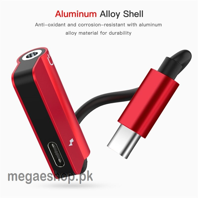 Type-C 3.5MM Jack Audio Charging Splitter Cable Adapter Converter - Red