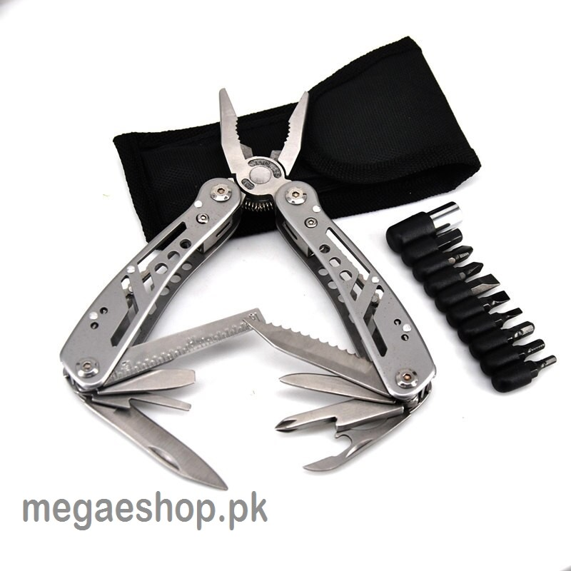 Multi-tool folding pliers for camping, survival knife, multi-functional wire crimping tool, multiple stainless steel pliers