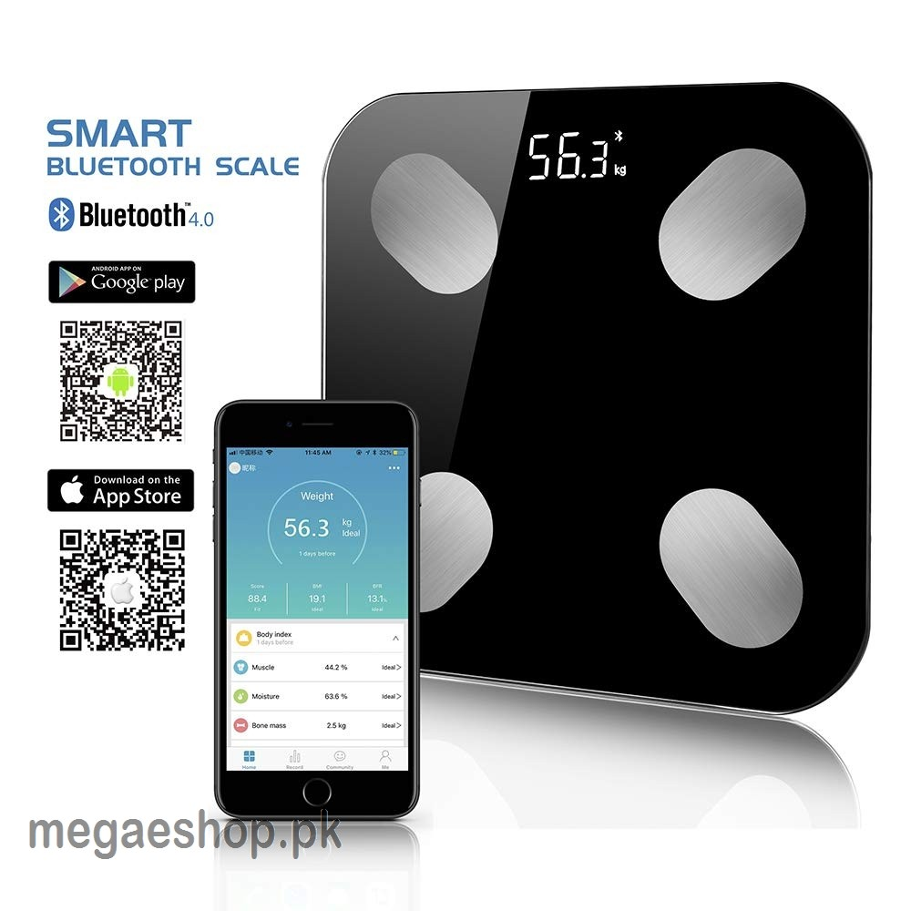 Smart Bluetooth Body Fat Scale, Accurate Measurements Weight, Work with iOS and Android APP Control
