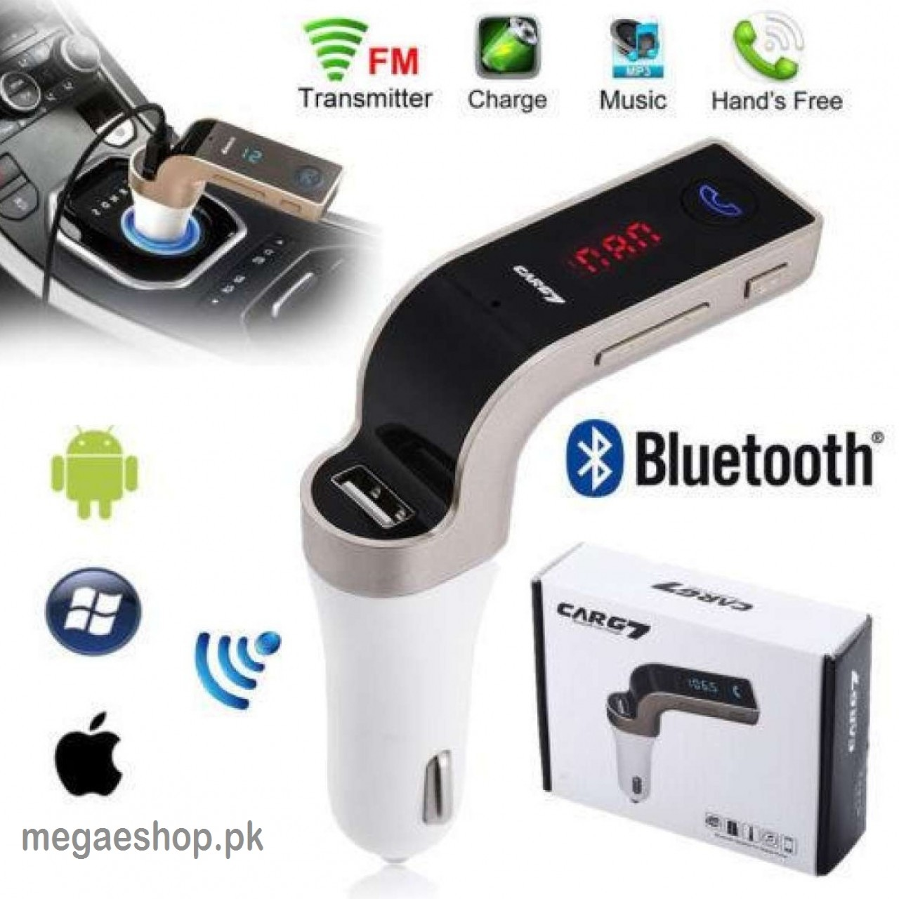 CARG7 4-in-1 Car Bluetooth Support USB, TF Card, Line-in, MP3 FM