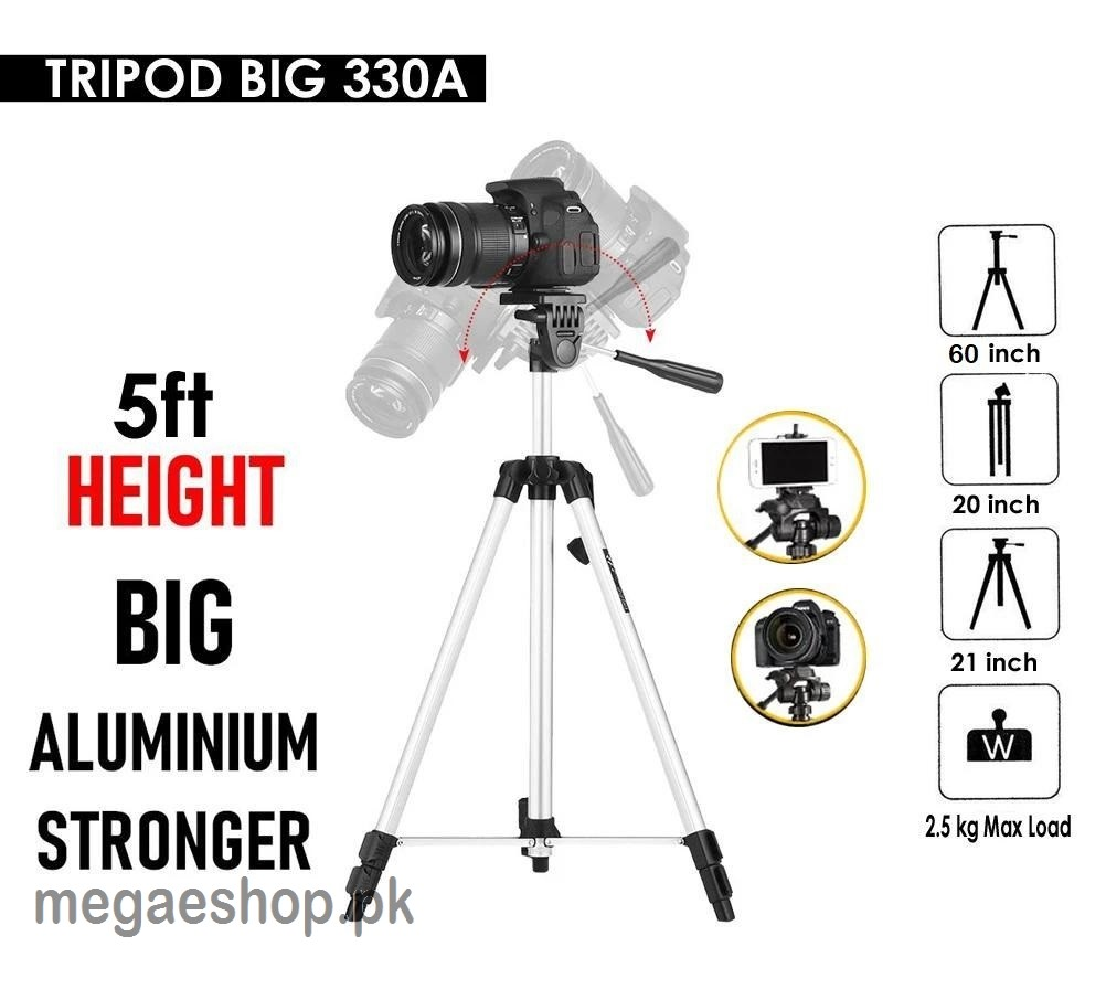 330A Professional Aluminum Tripod Stand For DSLR Camera , Mobile Phone , Tik Tok User , Vlogers and Youtubers