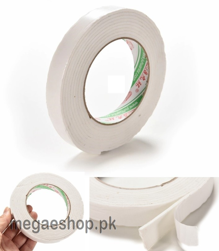 White PE Foam Double Sided Tape Strong Adhesive Sponge Mounting Tape 3 Widths--1.4cm*3m
