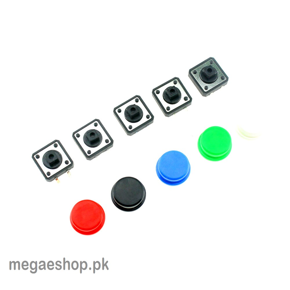 Tactile Push Button Switch Momentary 12*12*7.3MM Micro switch button + 5 colors Tact Cap