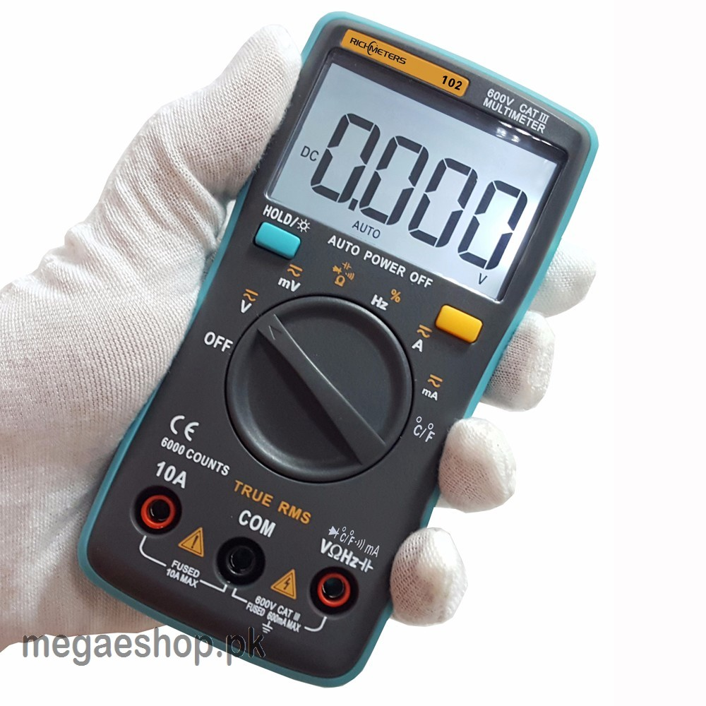 RICHMETER'S-102 Multimeter 6000 counts Back light AC/DC Ammeter Voltmeter Ohm Frequency Diode Temperature
