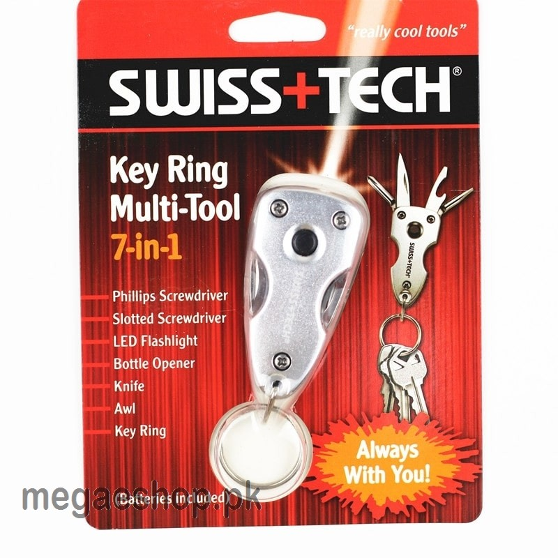 SwissTech Key Chain Multi-Tool 7-in-1, Silver, Clamshell