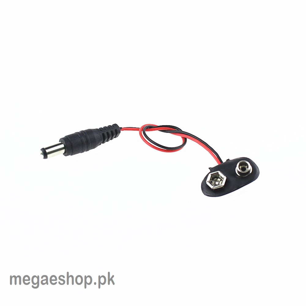 9V battery snap power cable to DC 9V clip