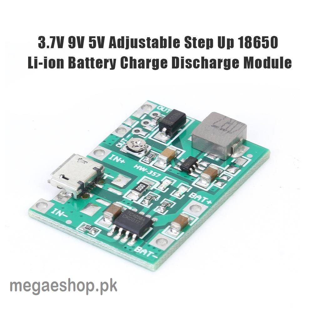 HW-357 3.7V 9V 5V PCB Adjustable Step Up 18650 Lithium Ion Battery Charging Discharge Power Bank Charger Module