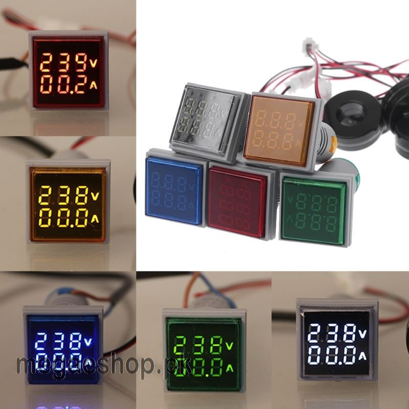 22MM Square LED Digital Dual Display Voltmeter & Ammeter Voltage Gauge Current Meter AC 60-500V 0-100A