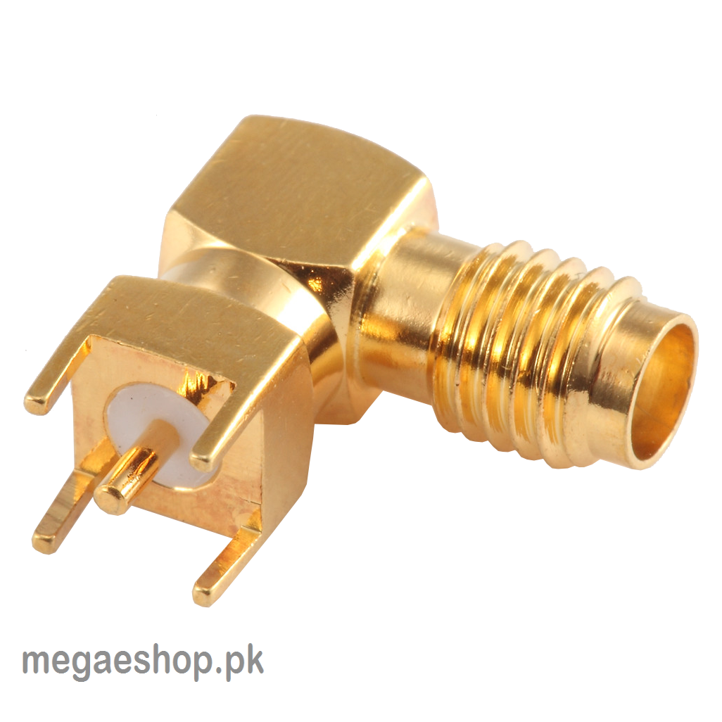SMA Female Right Angle Connector Solder Attachment Though Hole PCB, .200 inch x .067 inch Hole Spacing