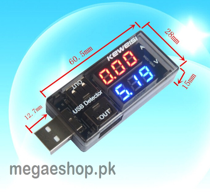 Dual USB Current Voltage Charger Detector battery Tester Voltmeter Ammeter
