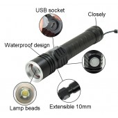 1800 Lumen Ultra Bright Zoomable Tactical Flashlight T6 LED Handheld Lantern
