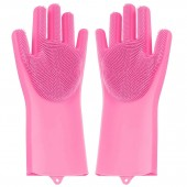 Magic Silicon Dish washing Gloves with Brush Sponge Wash Scrubber- 1 Pair