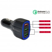 i-plug DF7 Car Charger 35W 3 Ports USB Qualcomm 3.0 Fast Charging Adapter