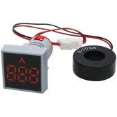 22mm 0-100A Digital Ammeter Current Meter Indicator LED Lamp Square Signal Light