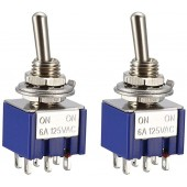 Mini Latching Toggle Switch DPDT ON-OFF-ON 6 Pin 3