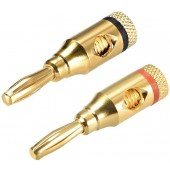 1 Pairs Banana Plugs 24k Gold Plated Audio Connectors Banana Plugs Open Screw Type