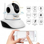 V380 Double Antenna Wifi Ip Wireless HD Rotating Camera with 2 Way Audio for Surveillance