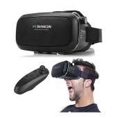 VR SHINECON Virtual Reality Headset 3D Glasses For Samsung Universal Headset 3D Theater Bluetooth Controller (N)