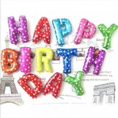 HAPPY BIRTHDAY Foil balloons in Multicolor polka dots party decoration 13 letter
