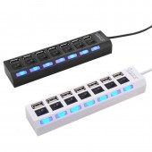 USB Hub Switch 7 Ports Portable High Speed USB 2.0 Hub 480 Mbps On/Off