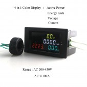 4 IN1 200-450V 100A Voltmeter Ammeter HD Color Screen LED Display