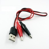 Dual Male Alligator clips test leads to USB Male Adapter