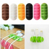 Mini CC-947 Multipurpose Wire Fixer Desktop Phone Cable Winder Earphone Clip Charger Organizer Management Holder 5 Slot Strip