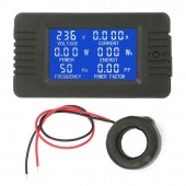 6 in 1 AC 100A Digital Voltmeter Ammeter Energy Power Power Frequency Factor Current Panel Meter Detector 110V 220V LCD Blue