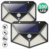 100 LED Outdoor Solar Power Wall Light PIR Motion Sensor Garden Security Lamp