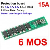 1S 15A 3.7V Li-ion 6MOS BMS PCM Protection Board for 18650 Lithium Lion Battery