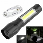 Torch USB Rechargeable Flashlight CREE LED Zoom + COB light