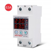 SVP-916 63A Adjustable Auto-Recovery Low / Over Voltage, Protective Device Switch Protector with LED