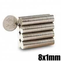 Neodymium Magnet 8x1 Disc Permanent N35 NdFeB Small Round Super Powerful Strong Magnetic Magnets 8mm x 1mm