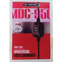 MDC-950 12V DC Mobile Phone Fast Charger Adapter + 2USB Battery Clamp + Power Cable