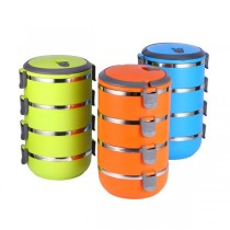 Tiffin / Lunchbox Stainless Steel Round Shape Keep Warm Four Layer Lunch Box