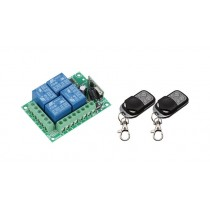 433Mhz Wireless Remote Control Switch DC12V 4CH relay Receiver Module with 2pcs 4 channel RF Remote